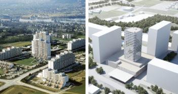 Links: Überbauung Liebrüti in Kaiseraugst. Rechts: Das geplante 80-m-Hochhaus Domus-Liebrüti.