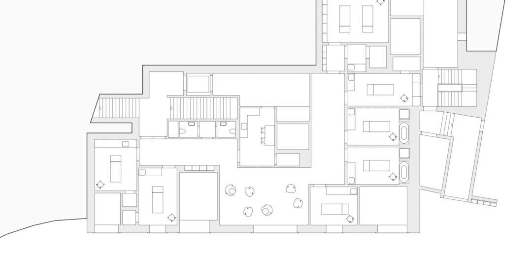 Waldhaus Spa: Grundriss Behandlung © Miller & Maranta