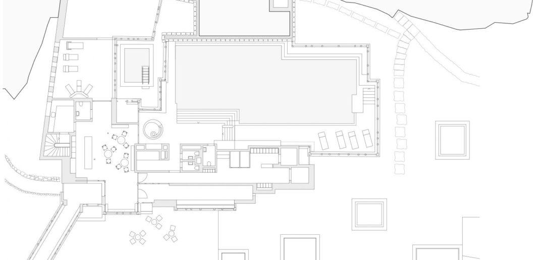 Waldhaus Spa: Grundriss Erdgeschoss © Miller & Maranta