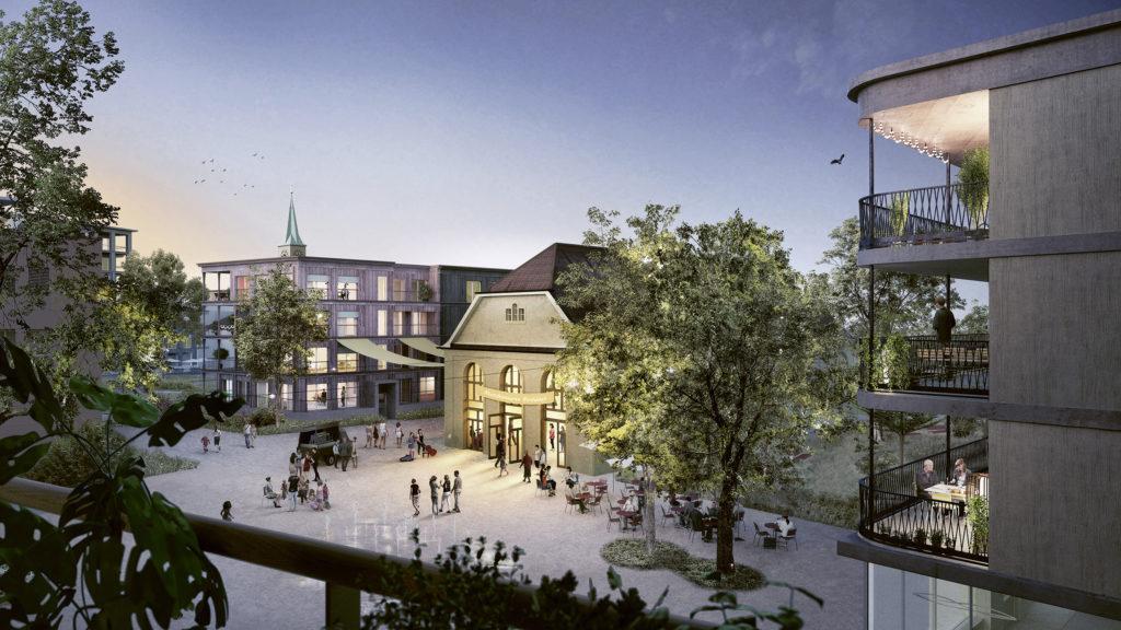Blick über den neuen Lavaterplatz auf die Alte Turnhalle © Harry Gugger Studio, Basel |Westpol Landschaftsarchitektur, Basel | Visualisierung: nightnurse, Zürich