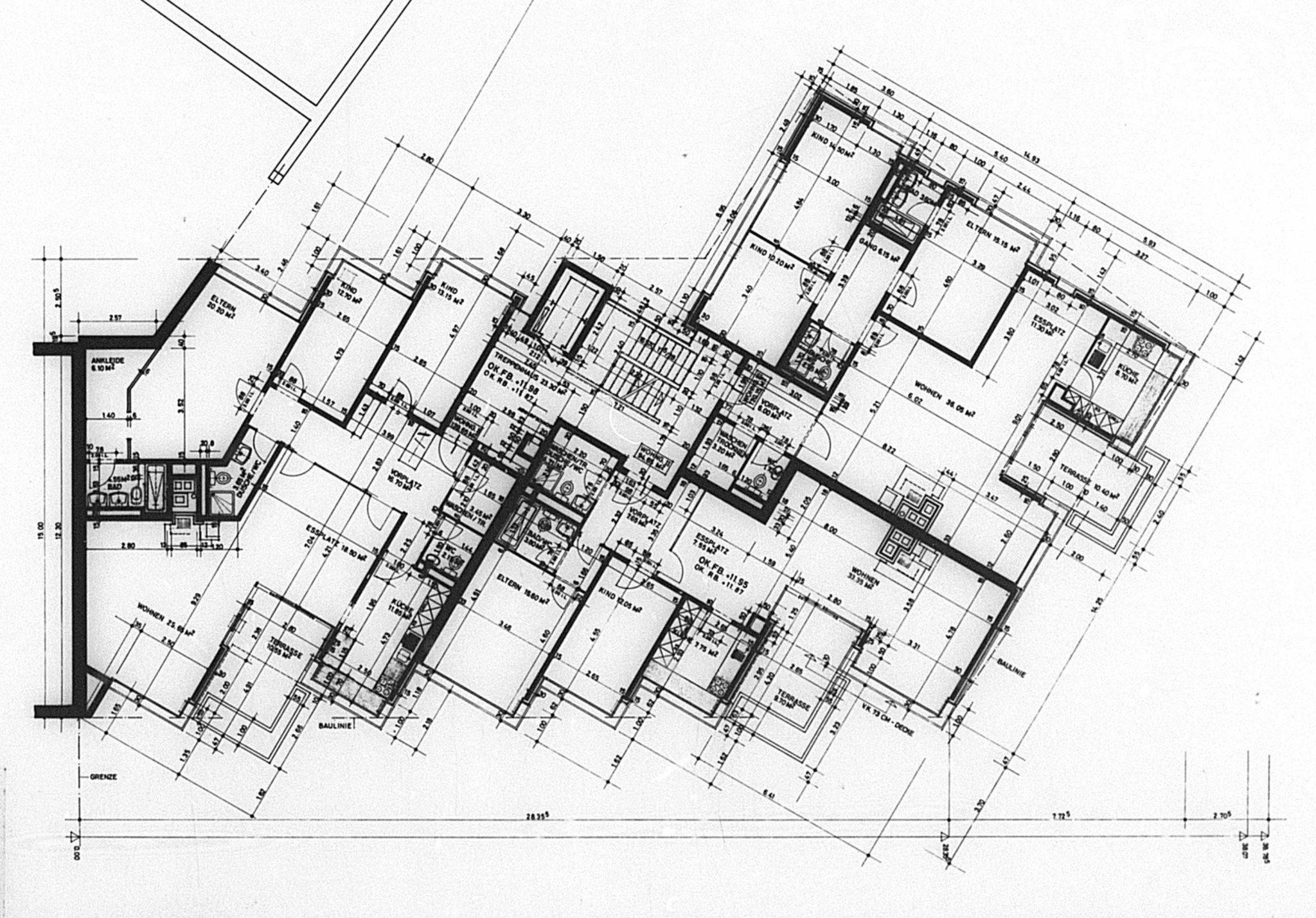 1. - 4. Obergeschoss Wohnhaus Wielandplatz © Burckhardt+Partner
