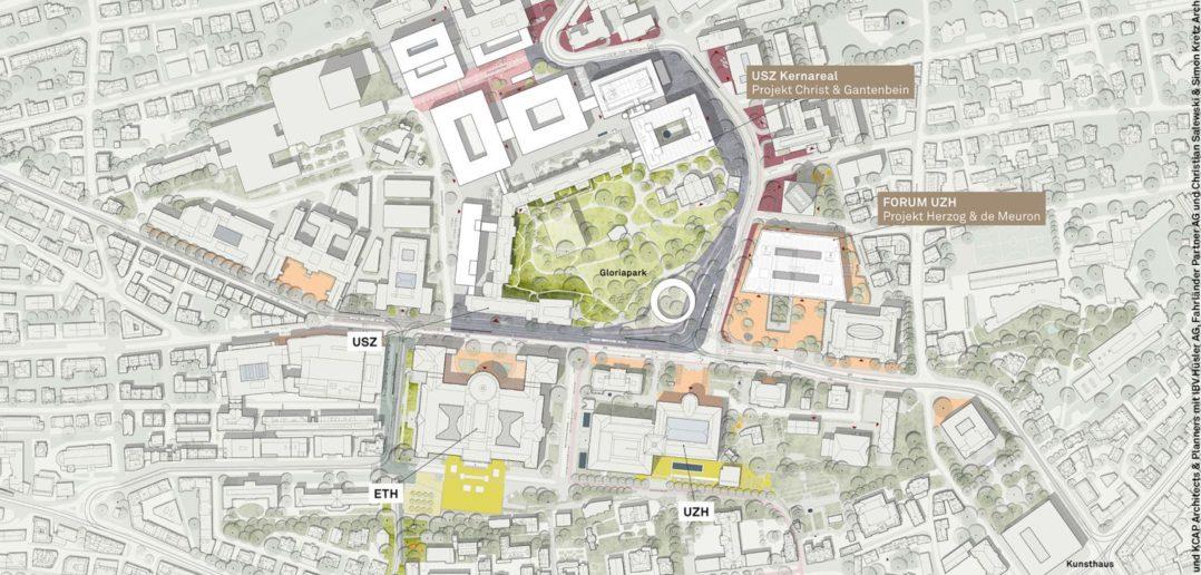 Übersichtsplan für das Hochschulgebiet Zürich Zentrum (HGZZ) aus dem Weissbuch © ARGE Studio Vulkan mit KCAP Architekten