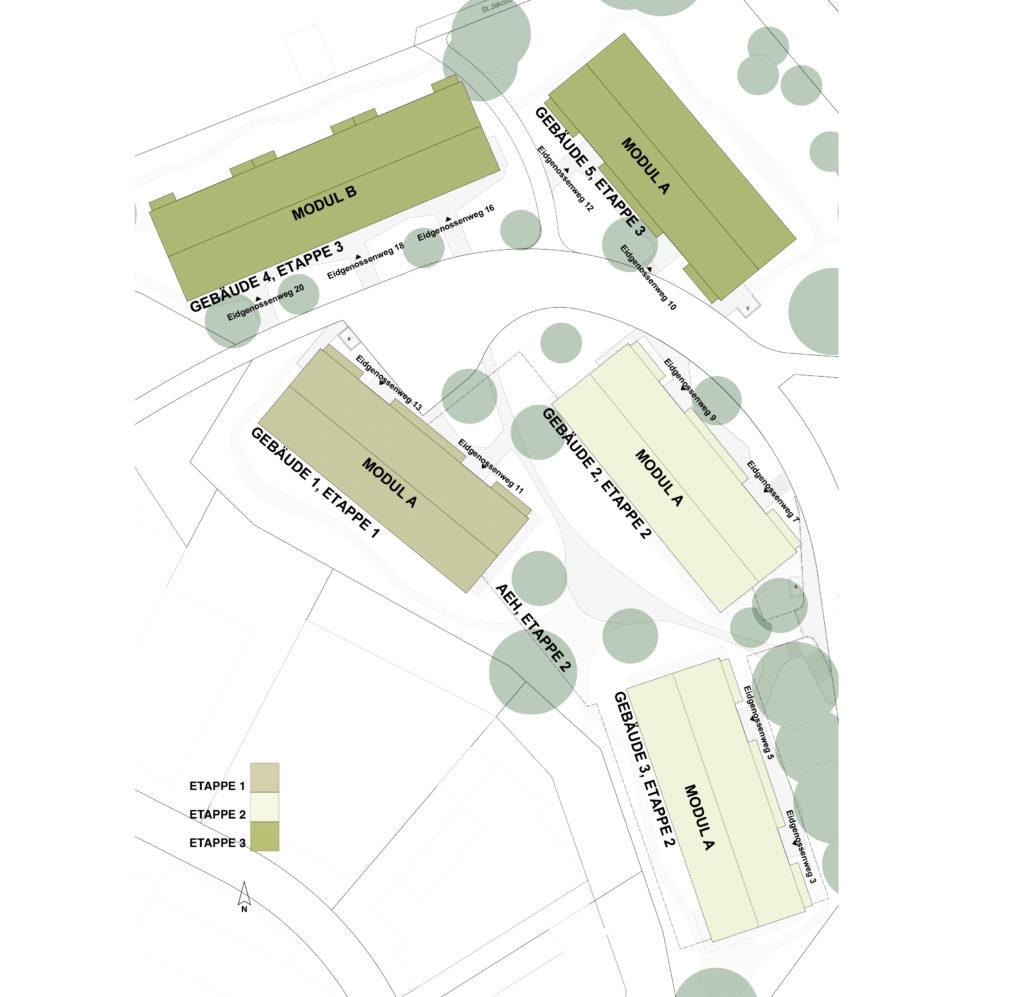 Etappenplan Ersatzneubau Eidgenossenweg © Ferrara Architekten