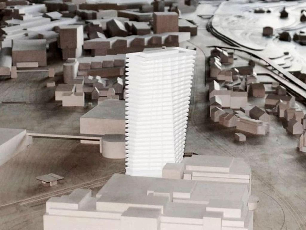 Situationsmodell Spenglerpark Hochhaus © Harry Gugger Studio