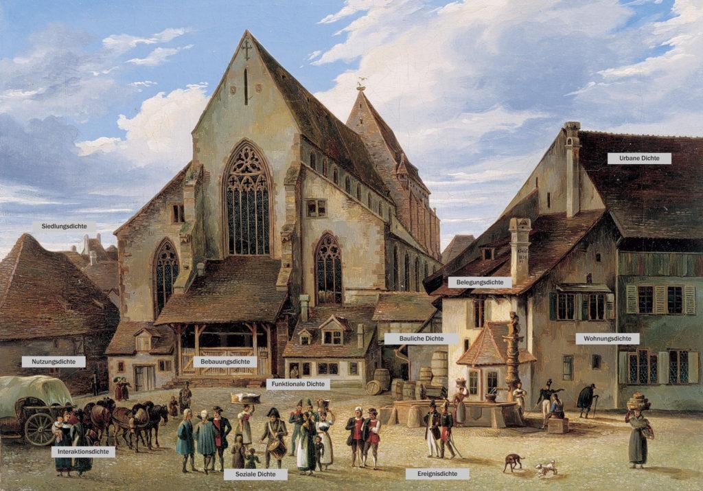 «Basler Dichte» gestern: Ansicht des Barfüsserplatzes mit der Barfüsserkirche, Andreas Geist, 1835 © Historisches Museum Basel / Foto: Peter Portner