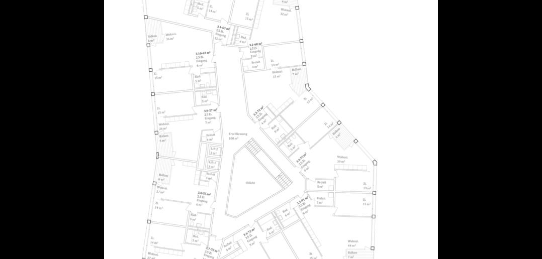 Grundriss Wohngeschoss © Stähelin Architekten