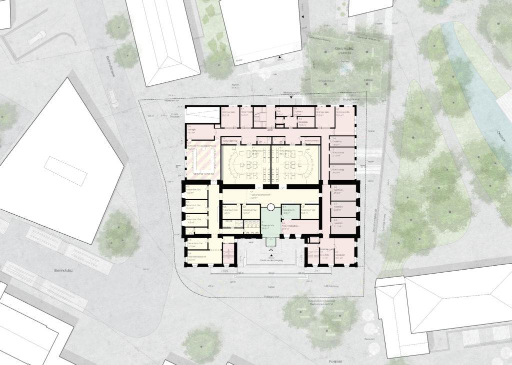 Erdgeschoss mit Umgebung / «A few good rooms» © Schmid Schärer Architekten ETH SIA, Zürich