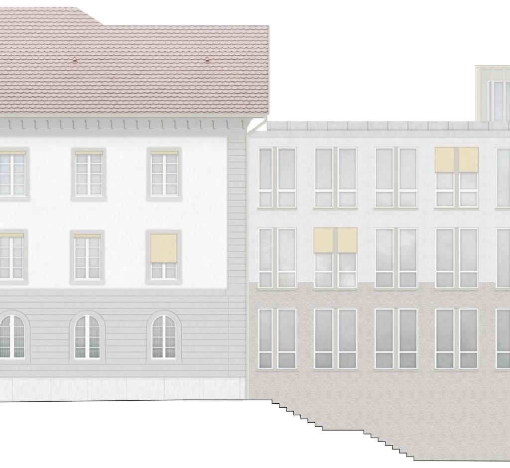 Neuinterpretation des Sockels / «A few good rooms» © Schmid Schärer Architekten ETH SIA, Zürich