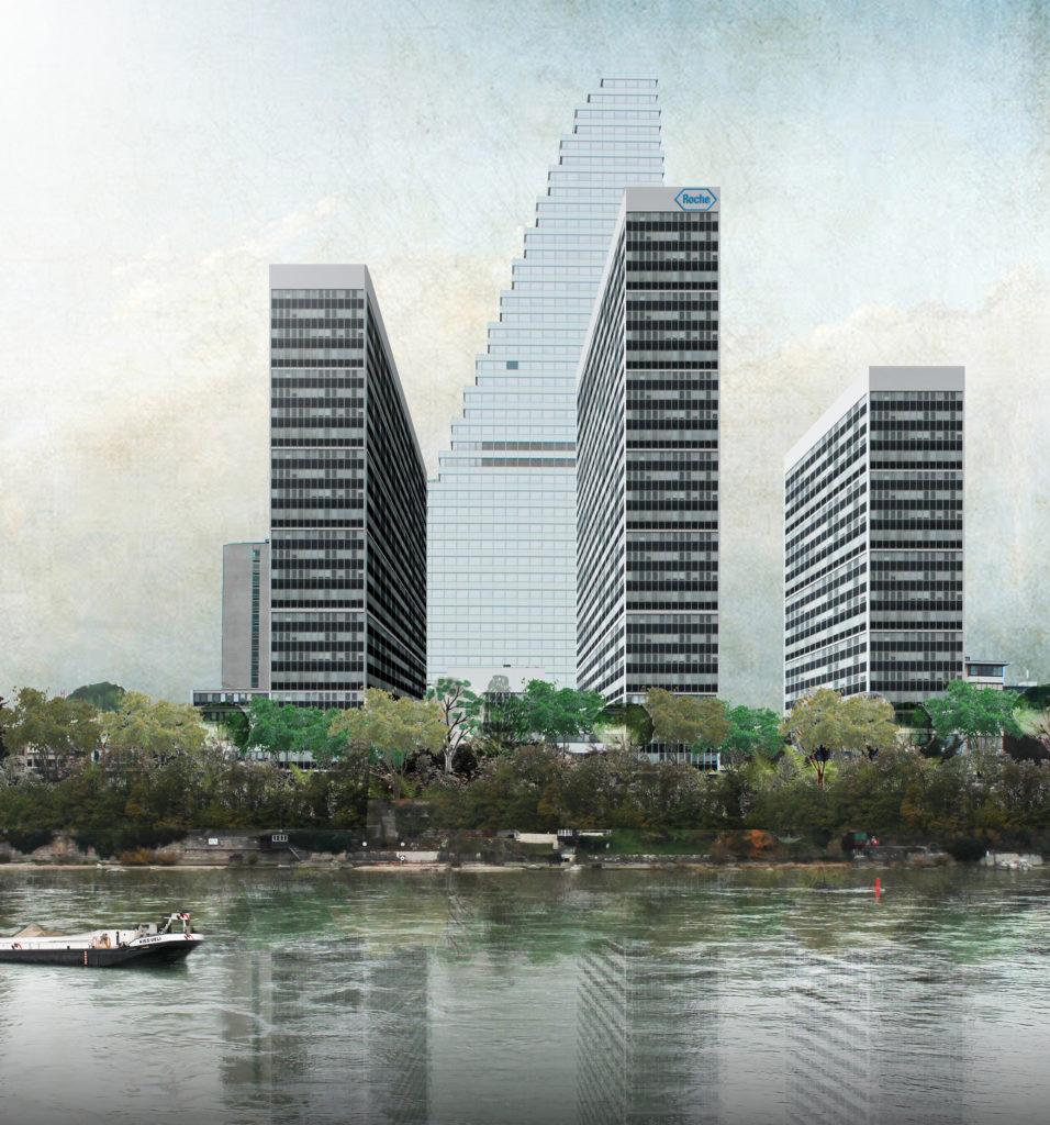 Neue Rheinfront des Südareals mit drei Hochhäusern von Barbara Buser © AlvDalb Images