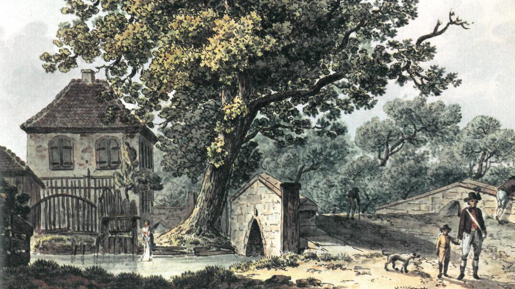 Schorenbrücke. Aquarell von Achilles Benz um 1815 © Staatsarchiv Basel-Stadt