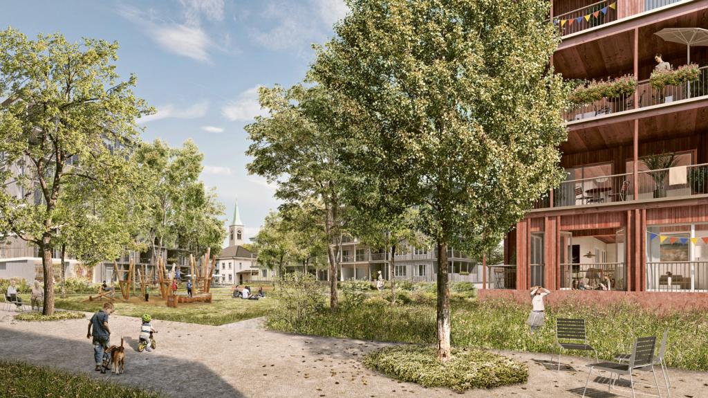 Der Kastanienhof © Harry Gugger Studio, Basel |Westpol Landschaftsarchitektur, Basel | Visualisierung: nightnurse, Zürich