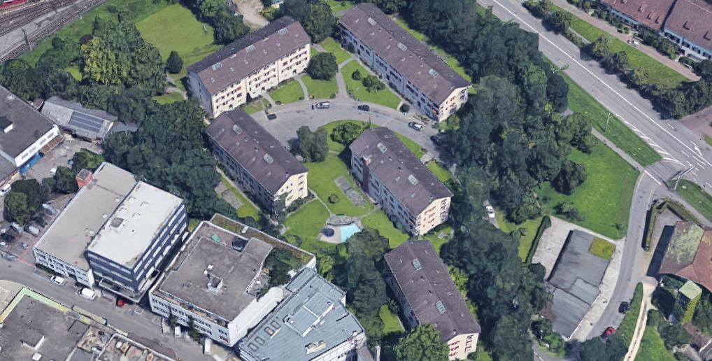 Aus der Luft: Die bestehende Siedlung Eidgenossenweg © Google Maps