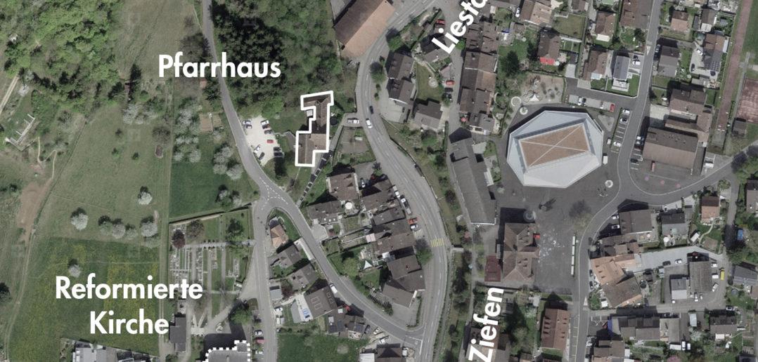 Pfarrhaus und Kirche, Bubendorf (bearbeitet), Grundlagen Luftbild © Bundesamt für Landestopografie swisstopo