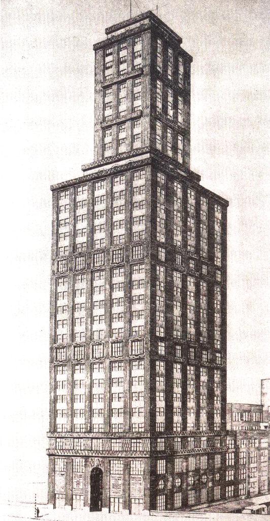 Entwurf von Hans Bernoulli für den Chicago Tribune Tower 1922 © gta Archiv ETH Zürich