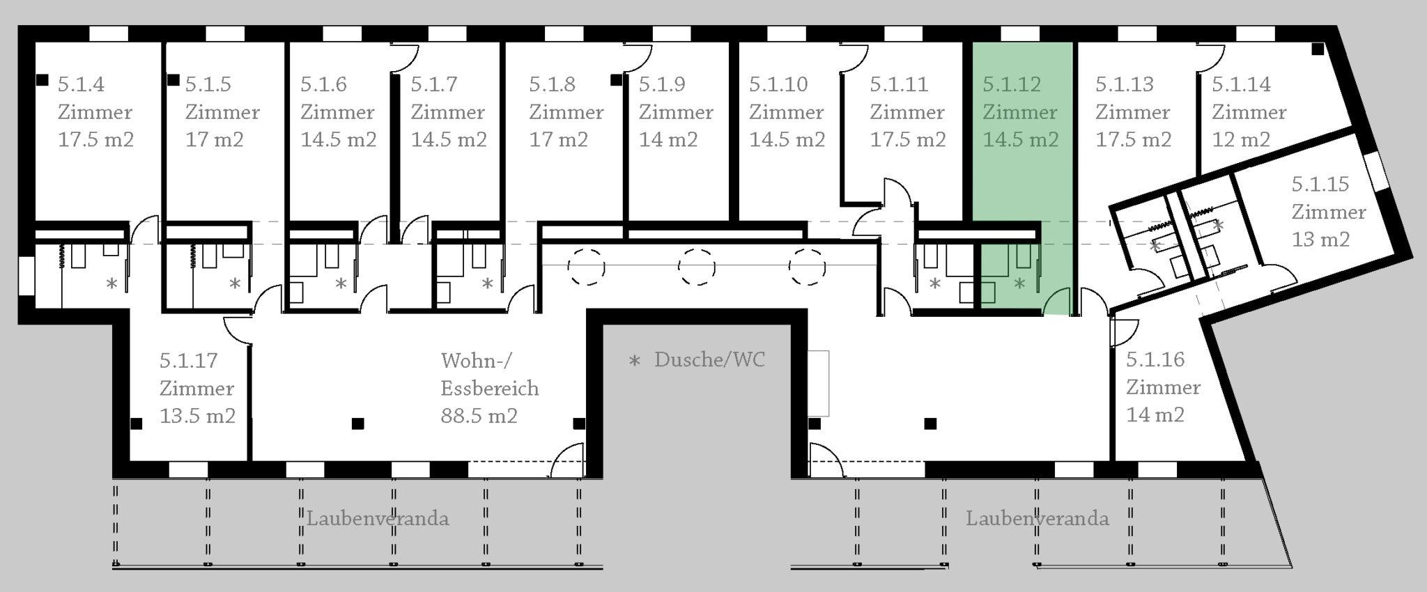 Grundriss Clusterwohnung ©BuchnerBründler