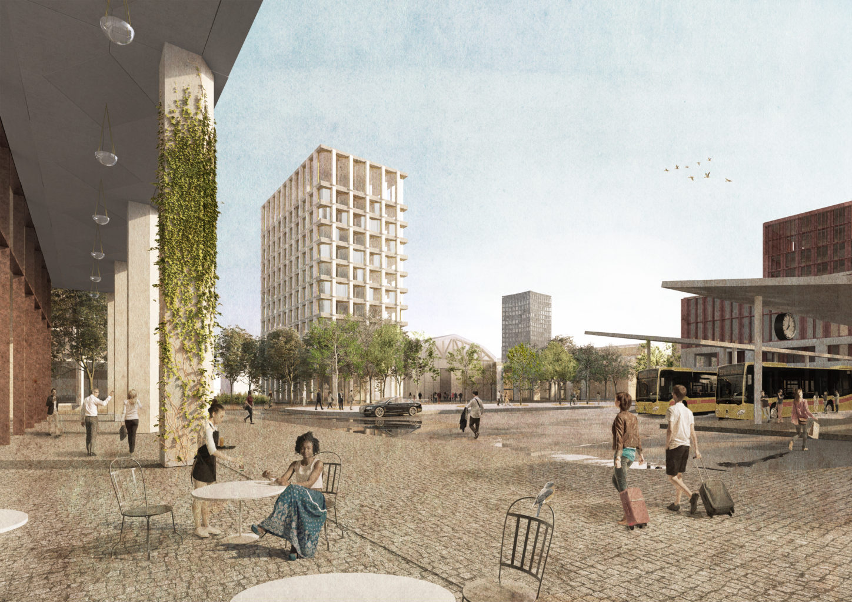 Der Bahnhofplatz wird die umtriebige Drehscheibe des öffentlichen Lebens und des Nahverkehrs. Im Hintergrund eine der umgenutzten Industriehallen. Bredella AG (Visualisierung: Burckhardt+Partner AG)