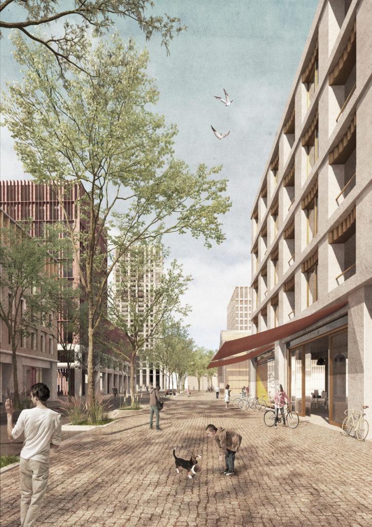 Die neue Bahnhofstrasse wird zur Achse des öffentlichen Lebens mit publikumsorientierten Nutzungen wie Läden und Gastronomie im Erdgeschoss. Bredella AG (Visualisierung: Burckhardt+Partner AG)