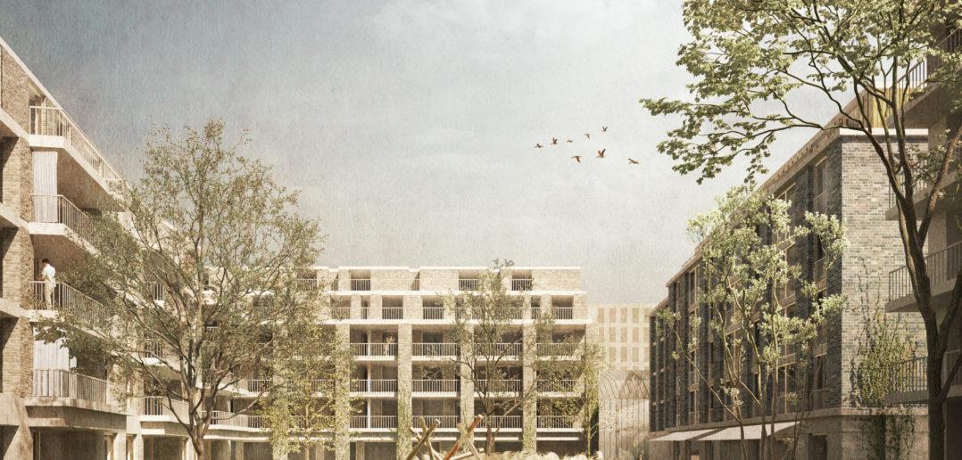 Differenzierte Aussenräume von öffentlich zu privat kennzeichnen das Quartier. Die grosszügigen und begrünten Wohnhöfe dienen den Bewohner als Ruhepol. Bredella AG (Visualisierung: Burckhardt+Partner AG)