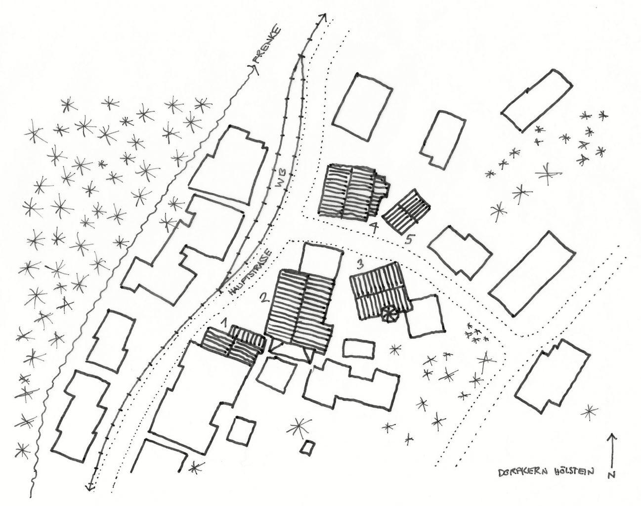 Dorkern: 1) Bauernhaus 2) Zehntenscheune 3) Neuhaus 4) Rössli 5) Rössli-Scheune, Hölstein © Architektur Basel