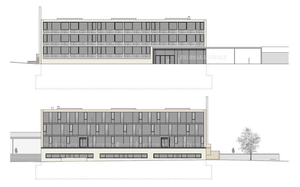 Oben: Ostfassade, unten: Westfassade. Plan © werk1 architekten und planer ag, Olten