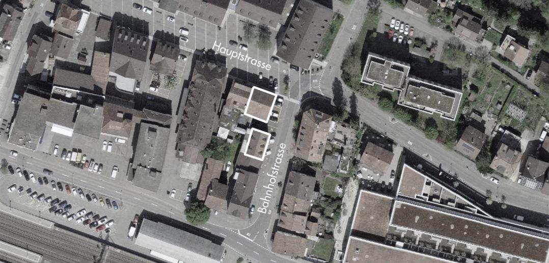 «Eckstein» an der Gabelung Hauptstrasse-Bahnhofstrasse, Sissach (bearbeitet), Grundlagen Luftbild © Bundesamt für Landestopografie swisstopo