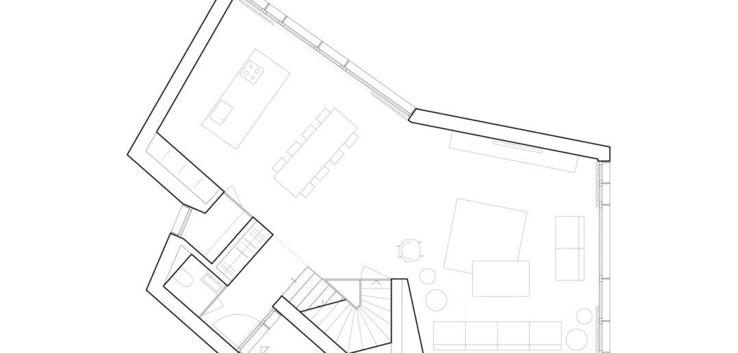 Grundriss Erdgeschoss, EFH Höhenweg, Binningen © Lupo & Zuccarello Architekten AG