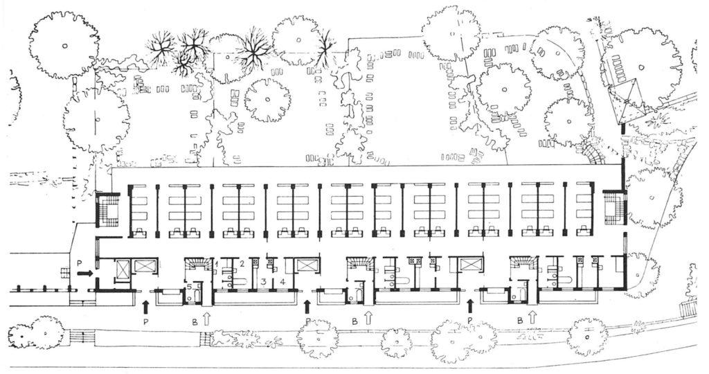 Grundriss Erdgeschoss: Infektionskrankenhaus (1943-36) von Hans Schmidt