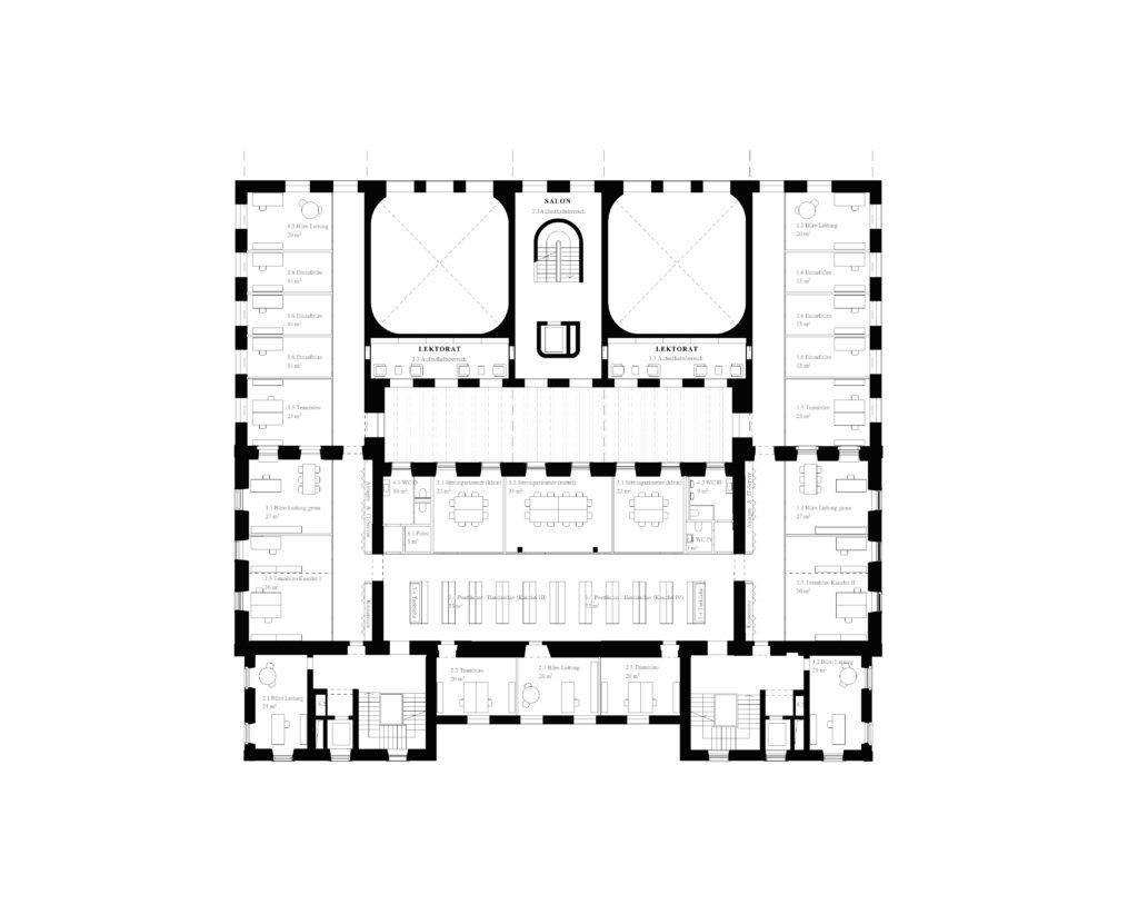 1. OG mit eingeschobenem Lektorat / «FIDELIO» © ffbk Architekten AG, Münchenstein