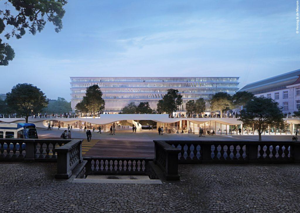 Forum UZH, Blick auf von der Rämistrasse, Visualisierung © Herzog & de Meuron