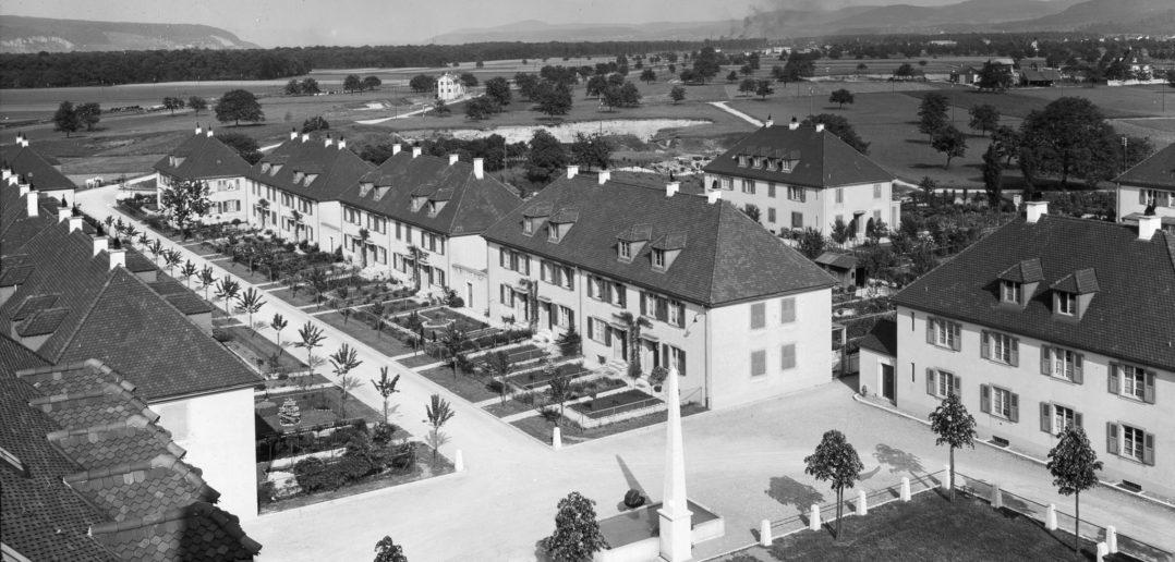 Blick über die Dächer des Freidorfs Richtung Osten © Siedlungsgenossenschaft Freidorf
