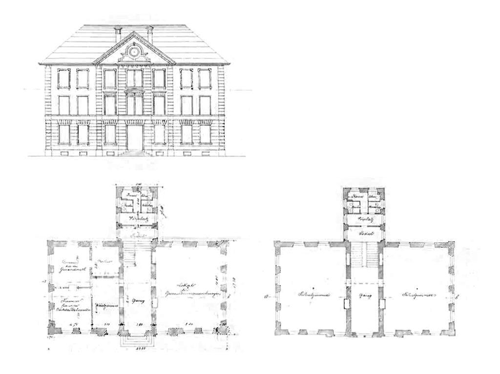 Gemeindeschulhaus Waldenburg, Ansicht und Grundrisse
