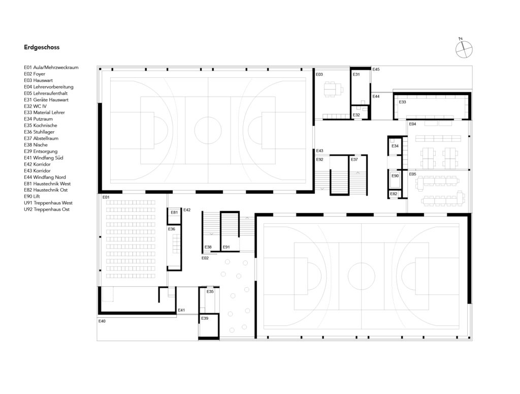 schulhaus gr nden von nord architekten architekturbasel. Black Bedroom Furniture Sets. Home Design Ideas
