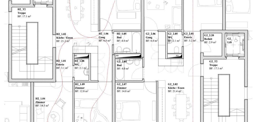 Burgfelderstrasse   Grundriss 4.5 Zimmer Wohnung ©Nord Architekten