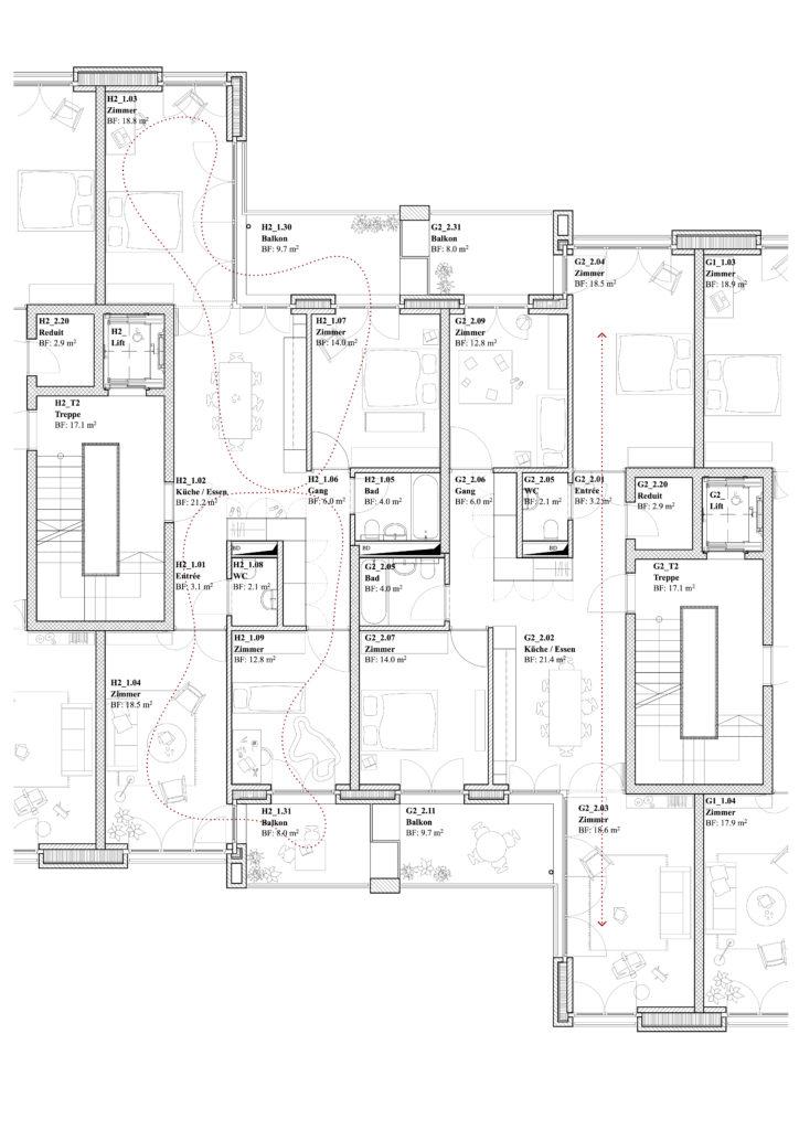 Burgfelderstrasse   Grundriss 4.5 Zimmer Wohnung ©NordArchitekten