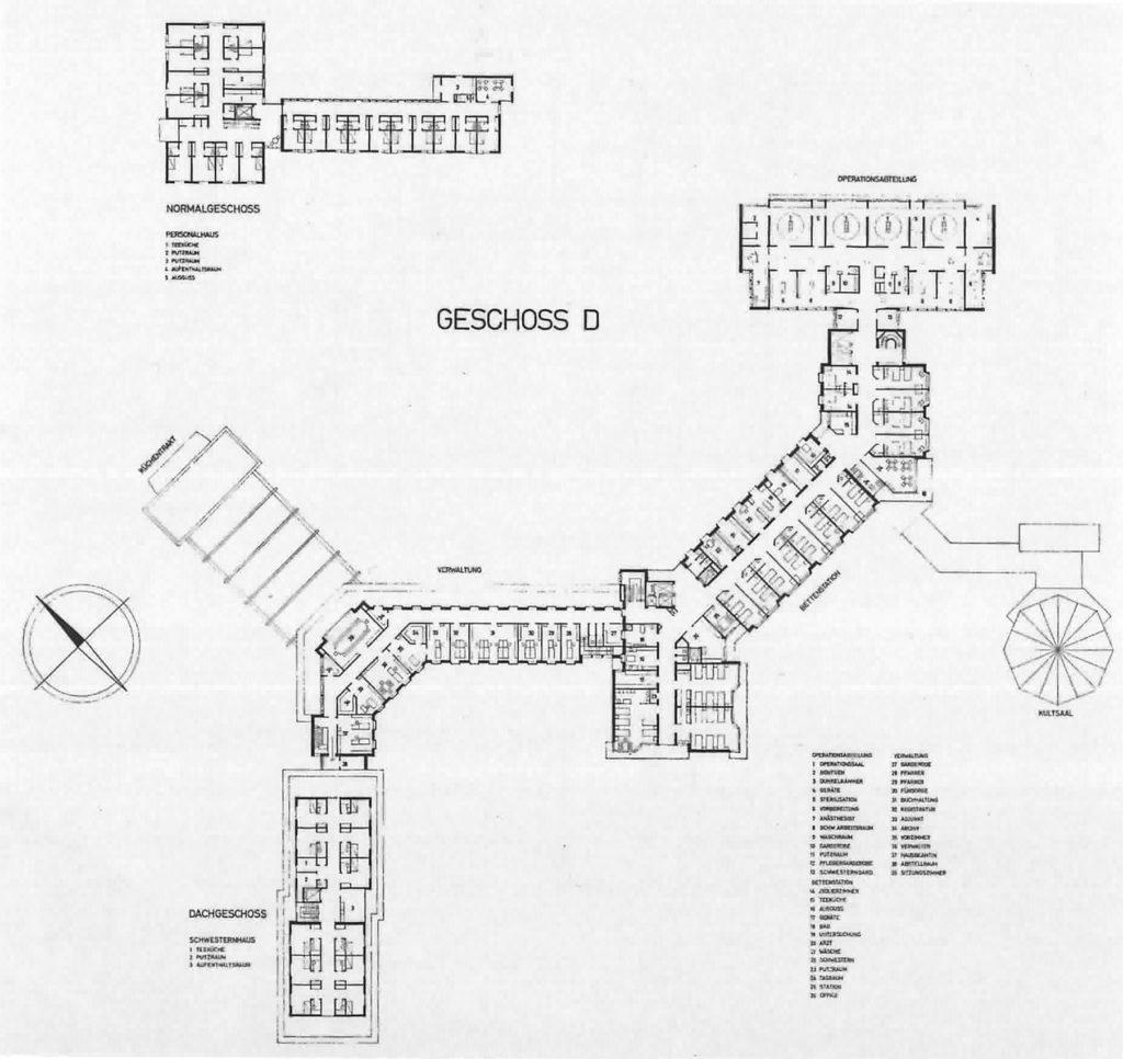 Spitalbau von Rudolf Steiger und Hermann Fietz (1962), Normalgeschoss