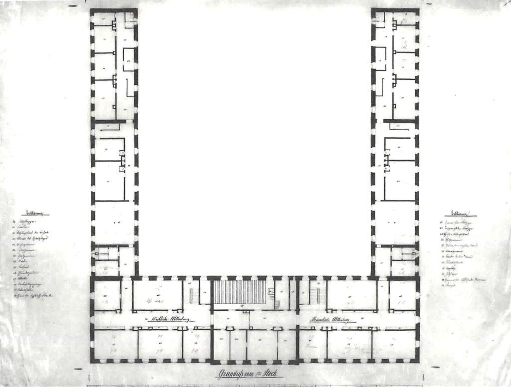 Hufeisenförmiger Bau von Benedikt Stehle, 1. Obergeschoss