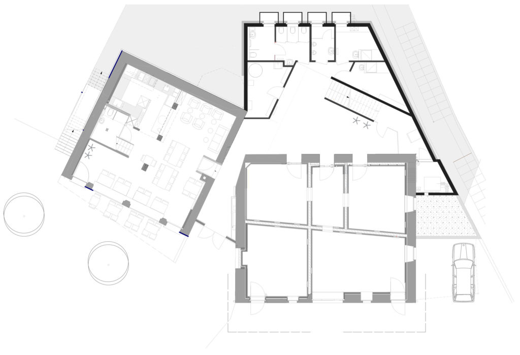Grundriss Erdgeschoss – Kulturhotel Guggenheim, Liestal. Sibylle Hartmann, Architektur und Raum
