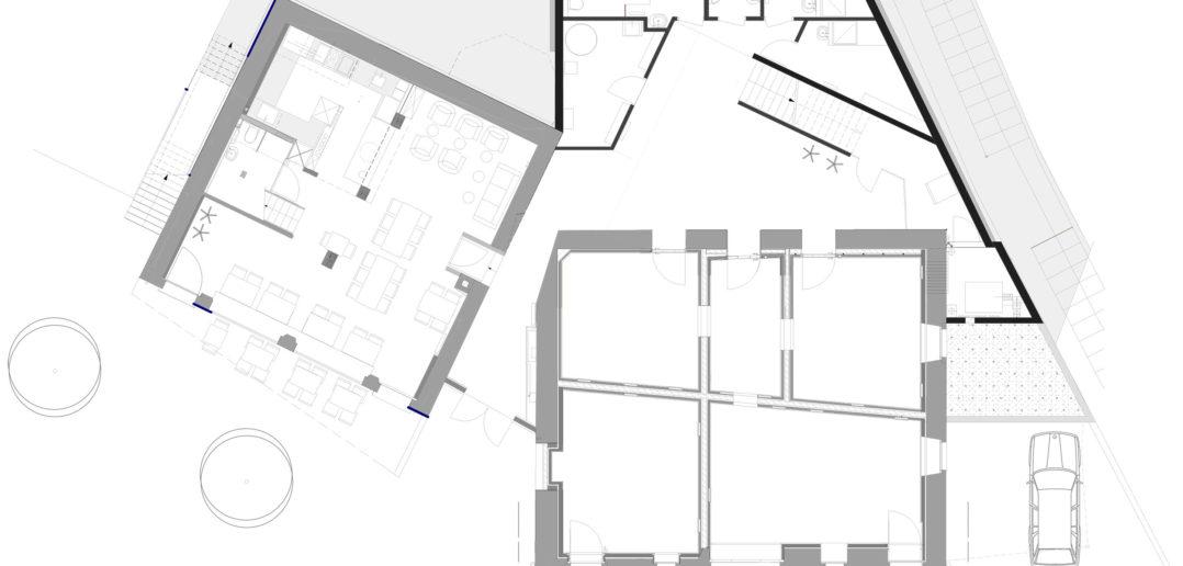 Grundriss Erdgeschoss – Kulturhotel Guggenheim, Liestal. Sybille Hartmann, Architektur und Raum