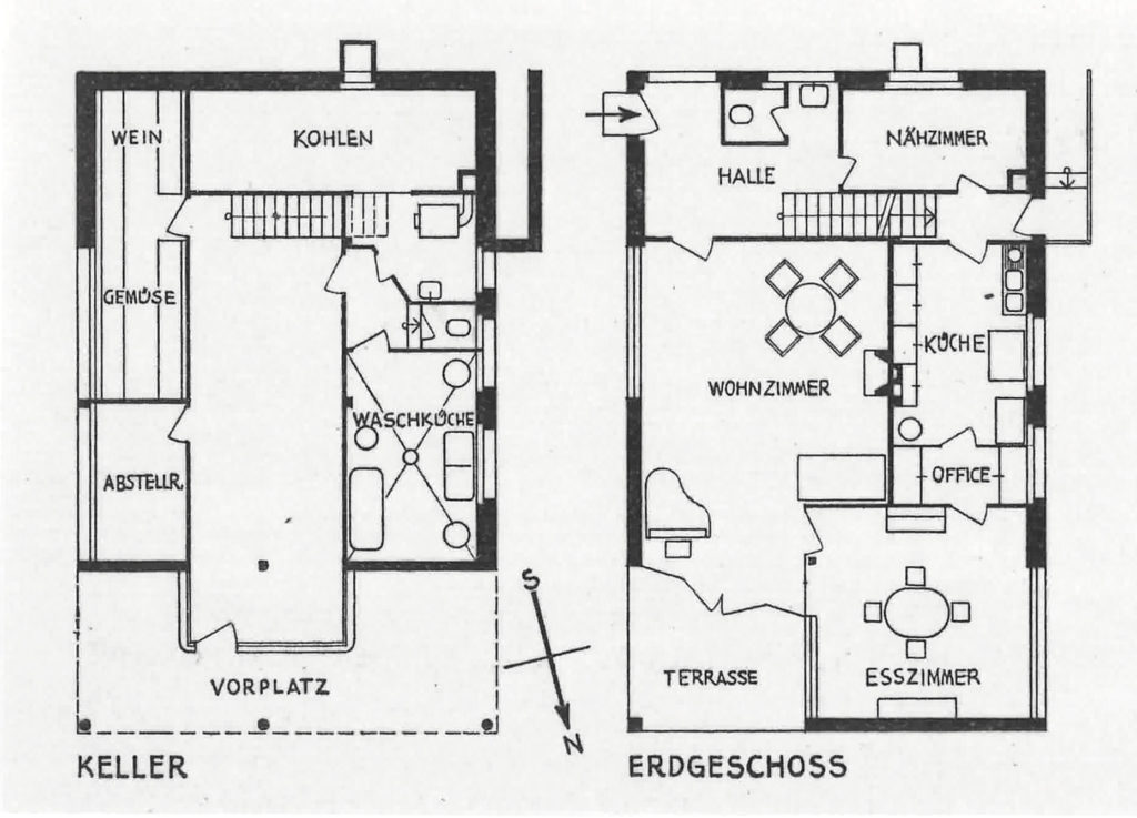 Sockel- und Erdgeschoss, Wohnhaus Senn, Binningen