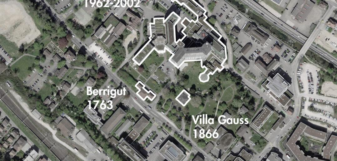 Die Villa Gauss an der Rheinstrasse, Liestal (bearbeitet), Grundlagen Luftbild © Bundesamt für Landestopografie swisstopo