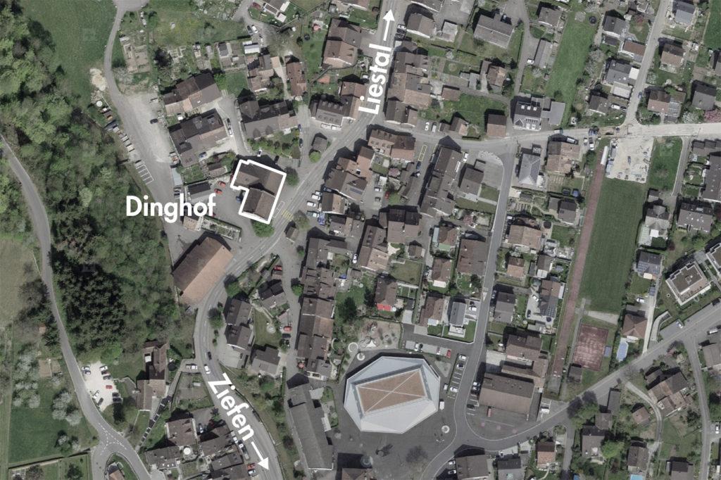 Ortskern von Bubendorf (bearbeitet), Grundlagen Luftbild © Bundesamt für Landestopografie swisstopo