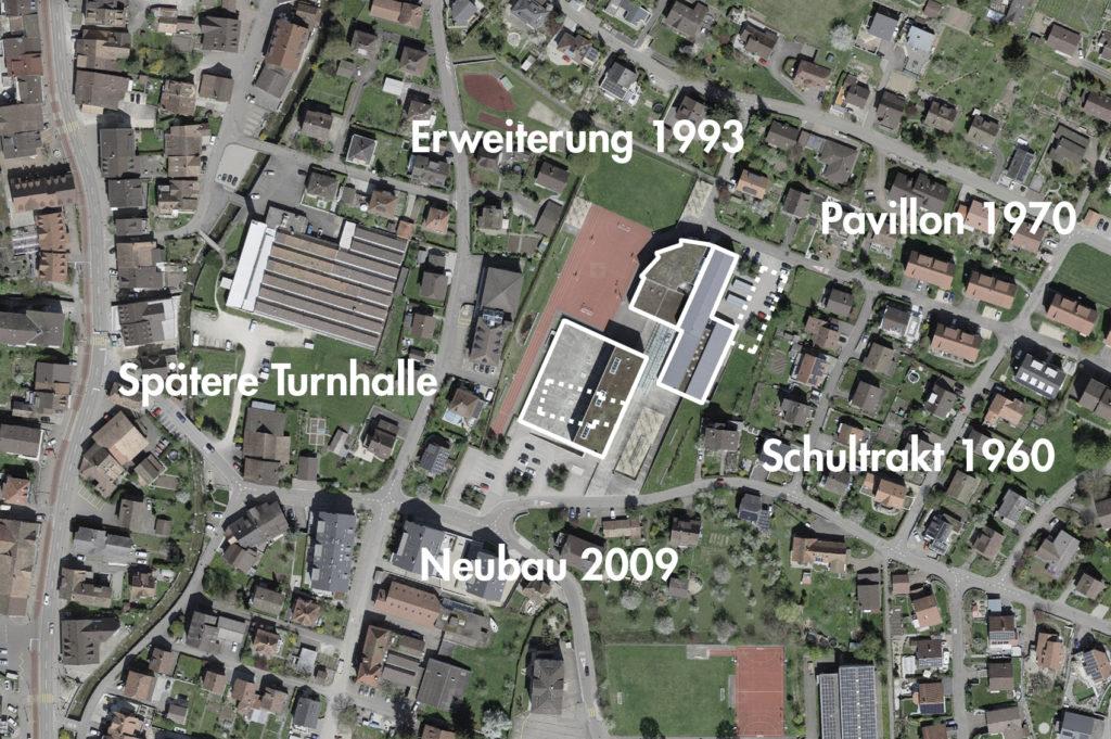 Schulhaus Dorfmatt, Oberdorf (bearbeitet), Grundlagen Luftbild © Bundesamt für Landestopografie swisstopo