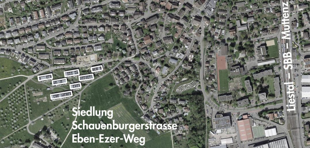 Wohnüberbauung «Im Eich», Frenkendorf (bearbeitet), Grundlagen Luftbild © Bundesamt für Landestopografie swisstopo