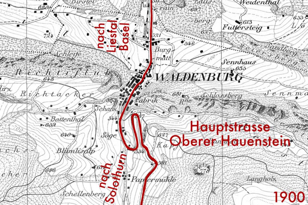 Historische Karte Waldenburg von 1900 (bearbeitet), Grundlagen Luftbild © Bundesamt für Landestopografie swisstopo