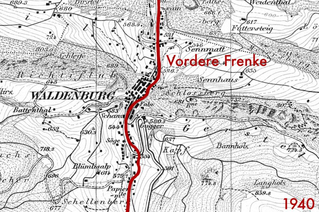 Historische Karte Waldenburg von 1940 (bearbeitet), Grundlagen Luftbild © Bundesamt für Landestopografie swisstopo