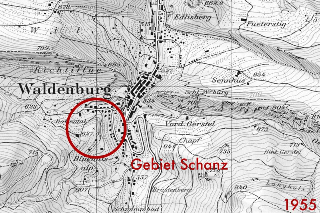 Historische Karte Waldenburg von 1955 (bearbeitet), Grundlagen Luftbild © Bundesamt für Landestopografie swisstopo