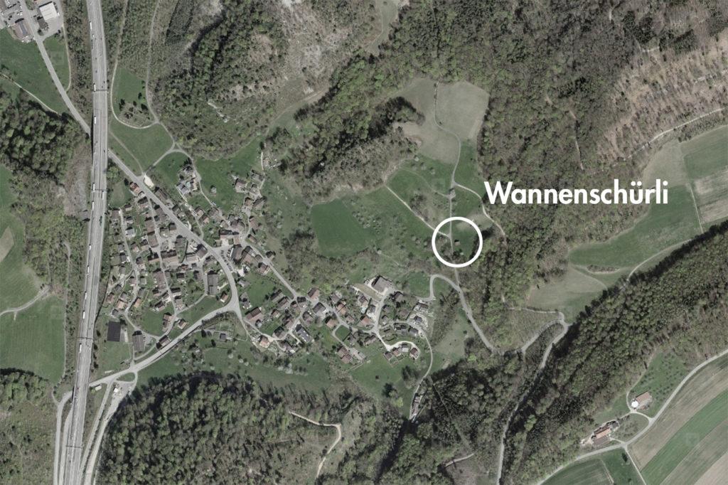 Wannenschürli, Eptingen (bearbeitet), Grundlagen Luftbild © Bundesamt für Landestopografie swisstopo