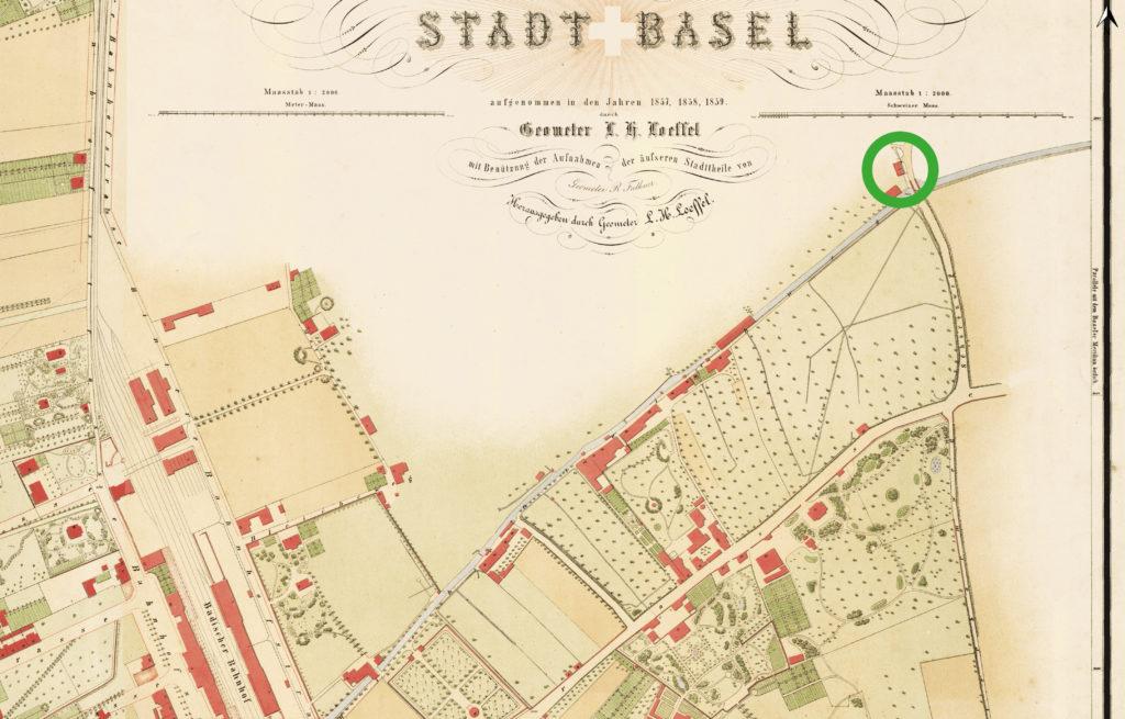 Das Burckhardt'sche Landhaus (grüner Kreis) auf dem Löffelplan 1862