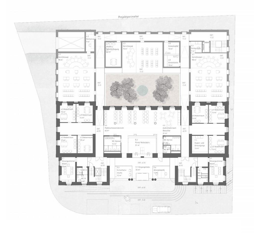 Erdgeschoss mit Innenhof / «LIBRA» © ARGE Stähelin Partner Architekten, Basel & Schwob Sutter Architekten, Liestal