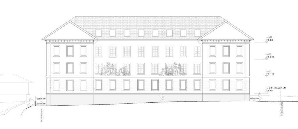 Niedrige Nordfassade / «LIBRA» © ARGE Stähelin Partner Architekten, Basel & Schwob Sutter Architekten, Liestal